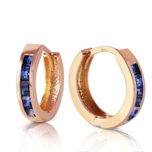 14K SOLID GOLD HOOP HUGGIE EARRING WITH  SAPPHIRES